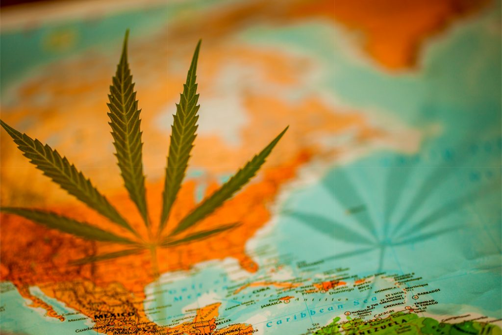 Map with Cannabis Leaf